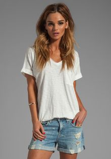 Rag & Bone Oversized Pocket V Tee in White - Lyst