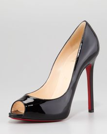 Christian Louboutin Flo Patent Leather Red Sole Peeptoe Pump - Lyst