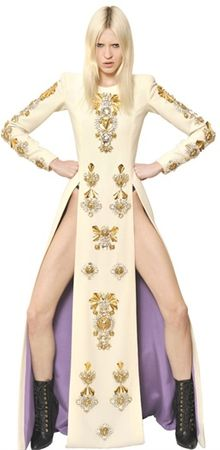 Fausto Puglisi Embroidered Wool Crepe Long Dress - Lyst