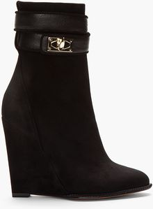 Givenchy Black Suede Shark Lock Ankle Boots - Lyst