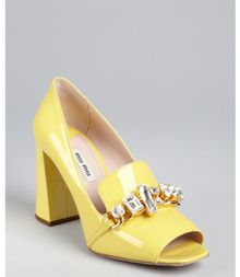 Miu Miu Canary Patent Leather Jewel Embellished Loafer Pumps - Lyst