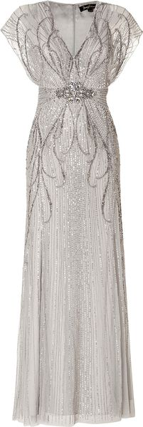 Jenny Packham Sequin Embellished Gown in Platinum - Lyst