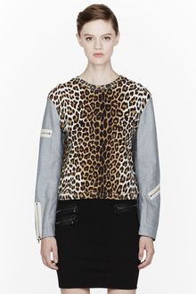 3.1 Phillip Lim Brige and Grey Leopard Print Zippered Sleeve Sweatshirt - Lyst