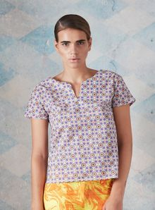 Charlotte Taylor Tile Pattern Cotton Top - Lyst