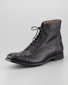 Alexander McQueen Etched Leather Laceup Boot - Lyst