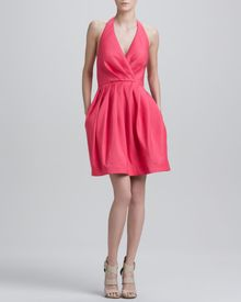 Halston Halter Dress with Full Skirt Fuchsia - Lyst