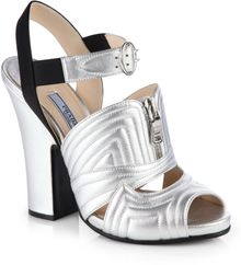 Prada Metallic Leather Satin Sandals - Lyst