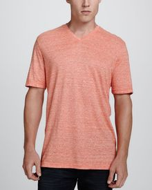 Michael Kors Collection Heathered Vneck Tee Orange - Lyst
