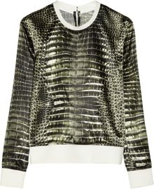 Reed Krakoff Alligator-print Satin Sweatshirt - Lyst