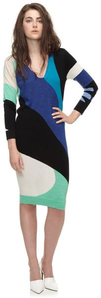 Paper London Sarentino Knit Dress in Blue Intarsia By - Lyst