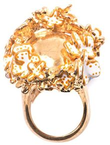 Alexander McQueen Flower Crown Skull Ring - Lyst