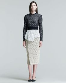 Proenza Schouler Longsleeve Peplum Dress Blackcream - Lyst