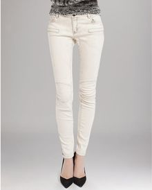 Maje Jeans Slim Denim Moto Detail in Ecru - Lyst