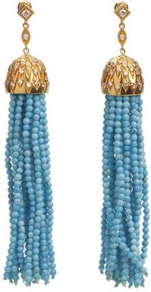 Julia Failey Gold Turquoise Tassel Earrings - Lyst
