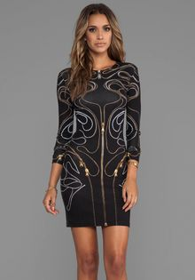 McQ by Alexander McQueen Long Sleeve Zipper Dress in Black - Lyst