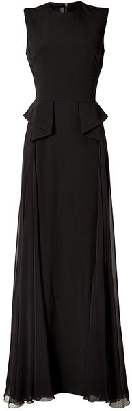 Elie Saab Silk Gown with Peplum Waist in Black - Lyst