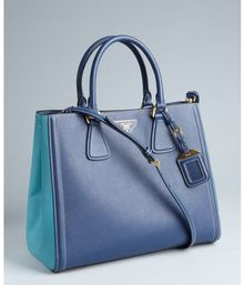 Prada Blue and Turquoise Saffiano Leather Convertible Tote - Lyst