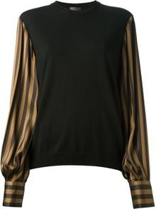 Fendi Striped Sleeve Sweater - Lyst
