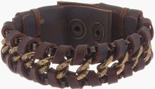 Diesel Brown Leather_wrapped Atechain Bracelet - Lyst