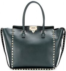 Valentino Rockstud Large Leather Trapeze Tote - Lyst