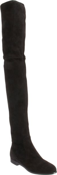 Prada Suede Over the knee Riding Boot - Lyst