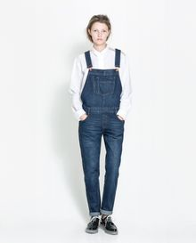 Zara Long Denim Dungarees - Lyst