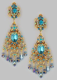 Jose & Maria Barrera Filigree Chandelier Clip Earrings Goldteal - Lyst