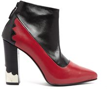 Toga Pulla Red and Black Block Heel Ankle Boots - Lyst
