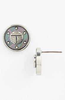 Tory Burch Wren Frete Logo T Button Stud Earrings - Lyst