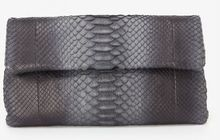 Hunting Season Foldover Python Clutch Grey - Lyst