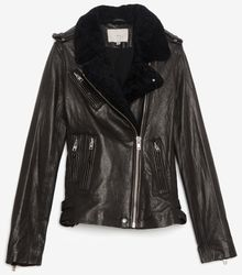 Iro Shearling Leather Jacket Black - Lyst