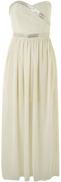 Tfnc Strapless Embellished Maxi Dress - Lyst