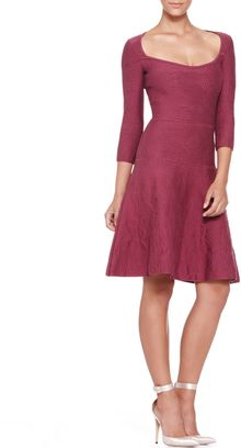 Zac Posen 34sleeve Bubbleknit Dress Cherry - Lyst