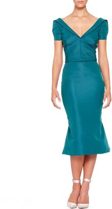 Zac Posen Shortsleeve Silk Duchesse Dress Teal - Lyst