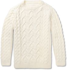 Maison Martin Margiela Chunky Cable Knit Wool Sweater - Lyst