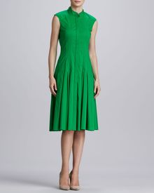 Oscar de la Renta Pleated Stretch cotton Dress Kelly Green - Lyst