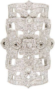 Stone White Gold and White Diamonds Gatsby Ring - Lyst