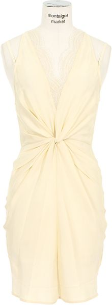 Lover Ivory Sleeveless Silk Gathered Dress - Lyst