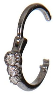 Stone Black Gold with Three Diamonds Mini Créole 3 Diamants Earring - Lyst