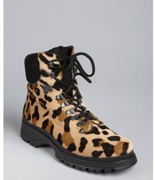 Prada Sport Leopard Print Calf Hair and Rubber Hiking Boots - Lyst