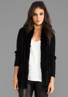 Graham & Spencer Rabbit Fur Coat in Black - Lyst