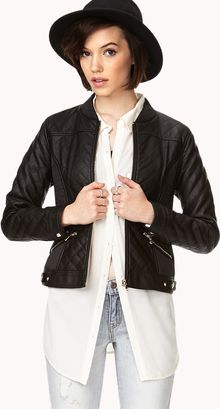 Forever 21 Chic Quilted Faux Leather Jacket - Lyst