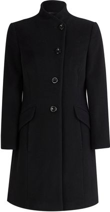 Minuet Petite Black Funnel Neck Coat - Lyst