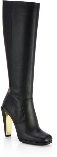 Fendi Peggy Leather Knee high Boots - Lyst