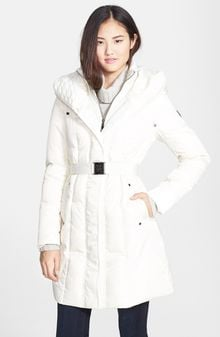 Vince Camuto Cable Knit Trim Belted Down Feather Coat - Lyst