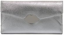 Lulu Guinness Silver Metallic Leather Large Envelope Wallet Silver Metallic Leather Large Envelope Wallet - Lyst