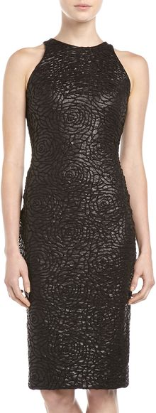 Alexia Admor Coated Rose embossed Sheath Dress Black - Lyst