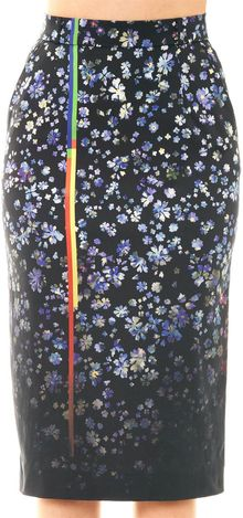 Preen Joslyn Forgetmenot Print Pencil Skirt - Lyst