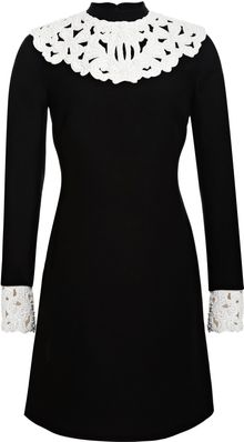 Valentino Embellished Leather trimmed Woolblend Dress - Lyst