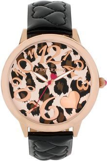 Betsey Johnson Ladies Leopard Dial Quilted Heart Strap Watch - Lyst